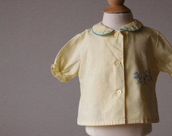 ON SALE 1960s Puppy Blouse~Size 9 Months