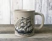 SALE ship mug Stoneware mug coffee mug knobler mug vintage mug sailboat mug