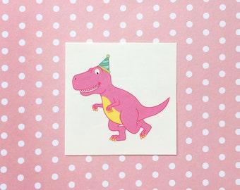 T-Rex Dinosaur Temporary Tattoo Set of 2 - pink tyrannosaurus rex rex cartoon pun fun party favor