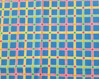 Vintage Piece of Fabric in Blue. Red. Green and Yellow