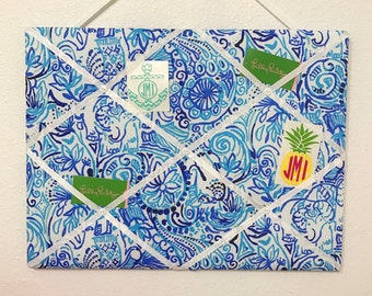 New memo board made with Lilly Pulitzer Lucky Trunks fabric