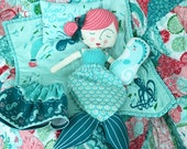 FABRIC to sew MERMAID Coral Queen of the Sea Stuffed Seahorse Doll QUILT and Doll Pillow Craft Panel to make all items   We Combine Shipping