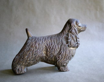 Large Cocker Spaniel Figurine Brass Dog Collectible Office or Library Decor Paperweight Statuette