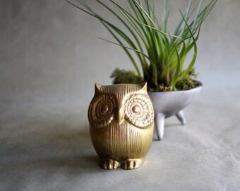 Vintage Brass Owl Paperweight Figurine Office Decor Gift for Her 1970s Bird Figure