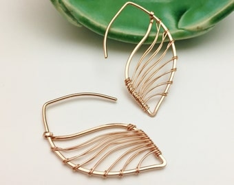 Rose Gold Filled Feather Threader Earrings - E437RG - handcrafted wire jewelry by cristys jewelry