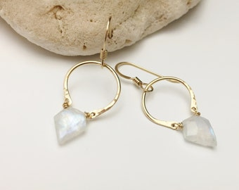 Gold Filled Crescent & Pentagon Gemstone Earrings - Rainbow Moonstone (E441SS-Moon) wire jewlery by cristysjewelry on etsy