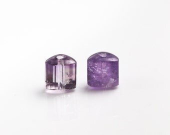 Amethyst Gemstone Beads - Faceted Tri Tubes - Amethyst Beads - Cape Amethyst Pair