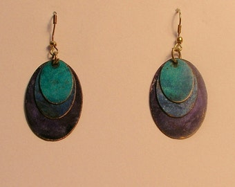Turquoise/cobalt/purple patina copper earrings