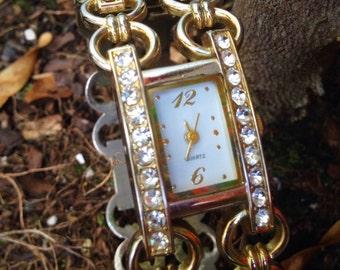Gucci Style Gold Tone Rhinestone Watch Bracelet