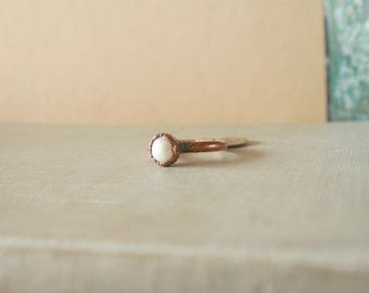 Pearl Ring Electroformed Copper Size 7