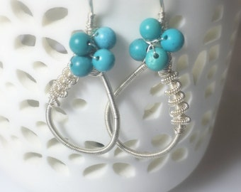 Turquoise Sterling Silver Loop Earrings, Imitation, Clusters, Summer Accessory