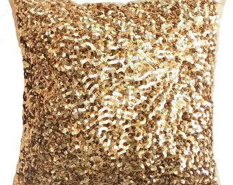 """Designer Gold Pillows Cover, Handmade 16""""x16"""" Silk Pillow Covers, Square Sparkly Glitter Sequins Embroidery Pillows Cover - Golden Sparkle"""
