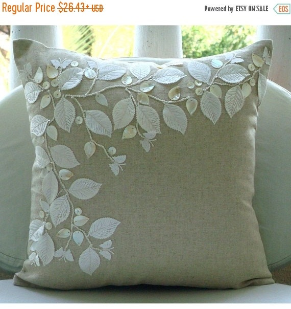 "15% HOLIDAY SALE Handmade  Ecru Cushion Covers, Rail Of Leaves Mother Of Pearls Pillows Cover Square  18""x18"" Cotton Linen Pillowcase - Line"