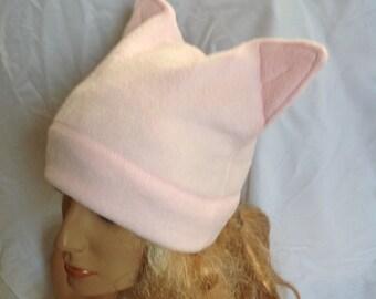 SALE - Light Pink Fleece Kitty Ear Hat