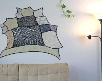 Tissage Mural Black and White Ombre Patch Asymmetrical Tapestry Wall Hanging Handmade Gift Interior Home Decor  Crochet Knit