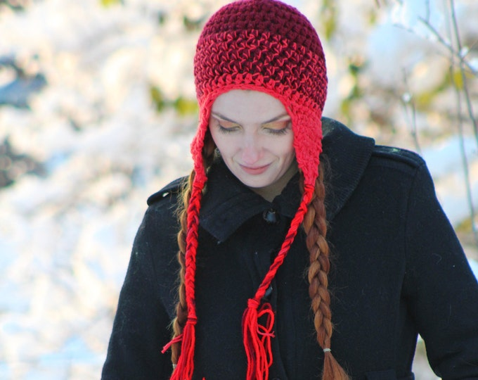 Red Tones Dark to Light Ear Flap Hat Ready to Ship Christmas Gift Stocking Stuffer
