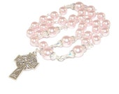 Anglican Prayer Beads, Pink Pearl Christian Woman's Rosary, Silver Celtic Cross
