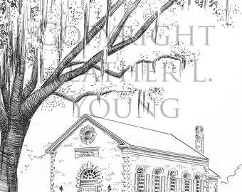 Bethesda Whitefield Chapel Savannah Pen and Ink Print