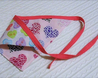 Valentine Dog Bandana with Leopard hearts and Candy Hearts Sizes XS to XL Tie Dog Bandanna