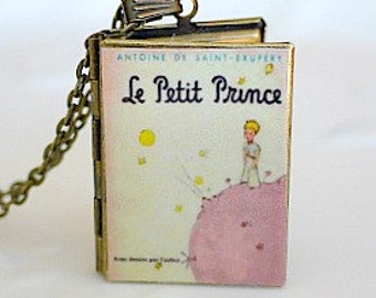 The Little Prince, Le Petite Prince, Antoine de Saint-Exupery, French Novella, Watercolour Illustrations, Book Necklace, Book Jewelry