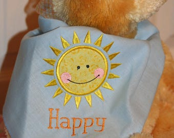 Sun Dog Scarf, Pet Scarf, Appliqued and Embroidered Blue and Yellow Dog Scarf