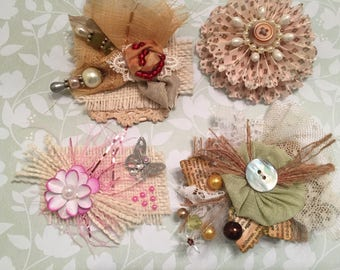 Shabby Chic, Scrappy Mixed Media, OOAK Embellishments, Journal Decoration, Package Topper, Picture Frame, Scrapbook, Cards, Tags, Craft Art