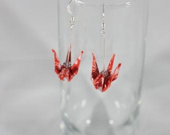 Origami Crane Earrings, Crane Earrings, Origami Earrings, Origami Bird Earrings, Origami Jewelry, Fashion Earrings
