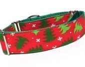 """Christmas Martingale Dog Collar with Red and Green Christmas Trees on green webbing 1.5"""" wide, unlined, safety collar, made to order"""