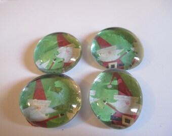 4 Santa Christmas Handmade Glass Magnets