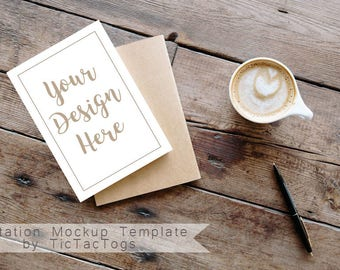 Mockup Invitation Template 5x7 Insert Photo Card Rustic Wood Coffee - Instant Download