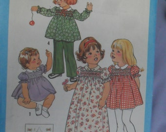 Vintage Simplicity Pattern No. 9512 Toddler Smocked Dress/Pants size 1/2