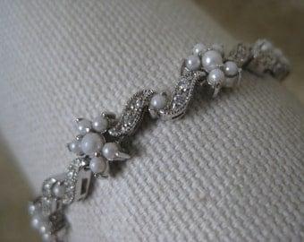 Flower Star Pearl Clear Stone Sterling Tennis Bracelet Link Silver Vintage 925
