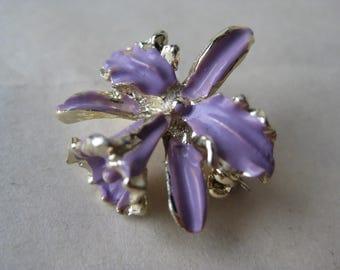 Orchid Brooch Purple Violet Gold Vintage Pin Flower