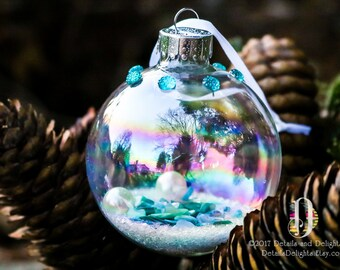 Aqua Teal Turquoise Diamond Glass Round Ornament, Pearl SeaShell Snow Glitter Crystal Bead Gem Christmas Holiday Tree Decor