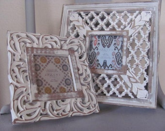 Pair ofWhite Chic Picture Frames, Gallery Collection Shabby Chic, Beach, Weddng, French Country