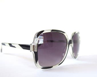 Vintage 1980's Black and White Oversized Sunglasses