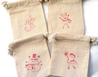 6 Christmas Muslin Bags 3x4 Inches Hand Stamped with Your Choice: Santa, Elf boot, Snowman, Reindeer or Mix