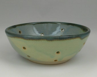 Ceramic berry bowl or colander, blue and green