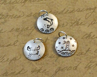 """1/2"""" Sterling Silver Hammered Handstamped Charm with a Sand Dollar, beach, shell, shore, dolphin, lighthouse, crab, ocean, bytwilight"""