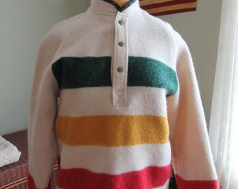 Beautiful Woolrich Hudson Bay style wool pull over jacket with pockets- nice condition