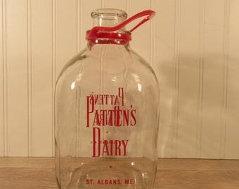 1 gallon vintage glass dairy milk bottle with plastic carrying handle- Patten's Dairy- St. Albans, Maine