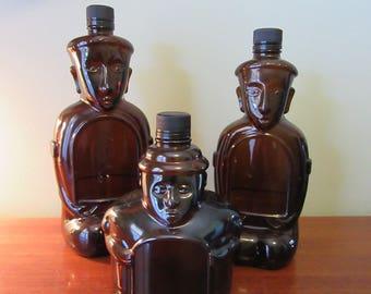 Set of 3 Christmas Kahlua Liqueur Heritage Edition Tiki brown/amber glass bottles