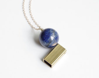 Lapis Lazuli and Brass Tube Necklace