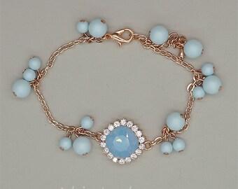 Blue Bridesmaid Bracelet,Rose Gold Bracelet, Blue Opal Wedding Jewelry, Pastel Blue Jewelry, Swarovski crystal Bracelet, Bridesmaid Gift