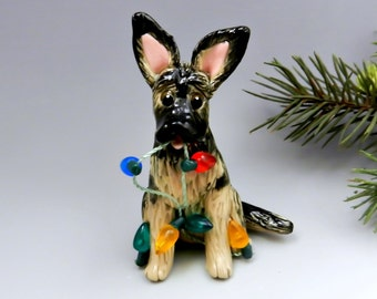 German Shepherd Dog Christmas Ornament Figurine Lights Porcelain
