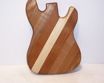 Guitar Cheese Cutting Board Handcrafted from Mixed Hardwoods