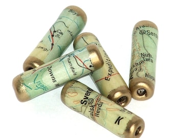 Recycled Map paper beads