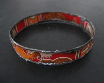 Recycled Tin Bangle Bracelet No. 9 - Medium Size - Red and Orange