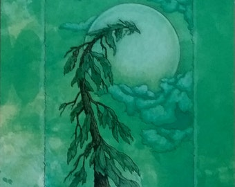 Pine tree, moon,pen and ink,color pencil print.green.