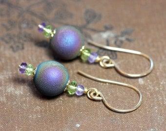 Druzy Quartz Earrings with Peridot and Amethyst Gold Luxe Rustic Jewelry Purple Earrings
